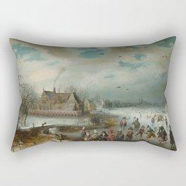 Skating on the Frozen Amstel River by Adam van Breen, 1611 Rectangular Pillow