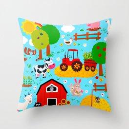 Farm Animals Blue Sky Barnyard Pattern Throw Pillow