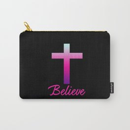 Believe (Pink Cross) Carry-All Pouch