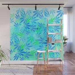 Blue Mint Cannabis Swirl Wall Mural