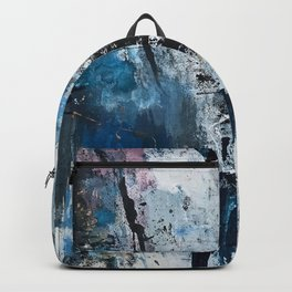 Breathe: colorful abstract in black, blue, purple, gold and white Backpack