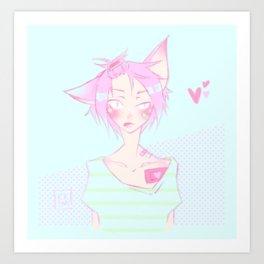 Pastel cat Art Print