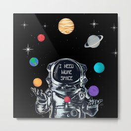 Astronaut Juggling the Solar System Metal Print