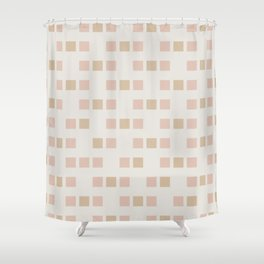 Cubed - Soft Minimalist Geometric Pattern in Pale Blush and Sand  Shower Curtain