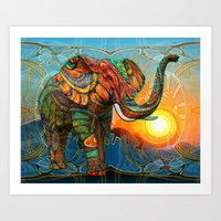 elephants Art Prints featuring Elephant's Dream by Waelad Akadan