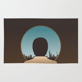 Man Looking Out Over City Rug
