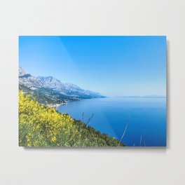 Majestic Royal Blue | Yellow Wildflowers Mountains Beautiful Ocean and Sky Horizon Dreamy Landscape Metal Print