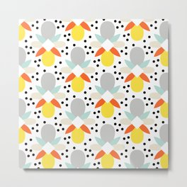Geo Print - Yellow/Grey Metal Print