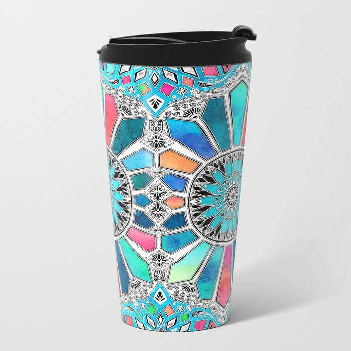 Iridescent Watercolor Brights on White Metal Travel Mug