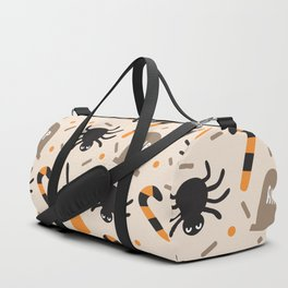 Happy halloween brooms, graves, spiders and sweets pattern Duffle Bag