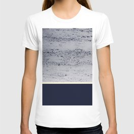 Navy Blue Pale Yellow on Navy Blue Concrete #1 #decor #art #society6 T-shirt