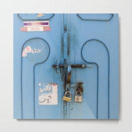 Old blue door Metal Print