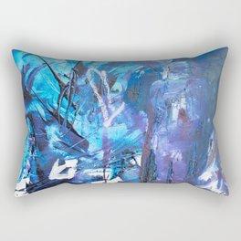 Figure in blue Rectangular Pillow