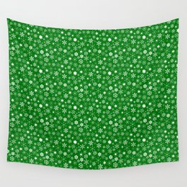 Evergreen Green & White Christmas Snowflakes Wall Tapestry