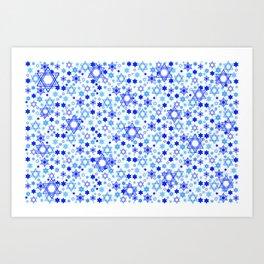 Dynamic Blue Stars of David Pattern Art Print