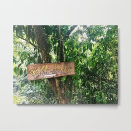 Blue River Sign in Tropical Rain Forest Metal Print