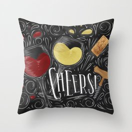 Cheers black Throw Pillow