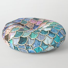 Multicolor Pink And Aqua Mermaid Scales - Beautiful Abstract Glitter Pattern Floor Pillow