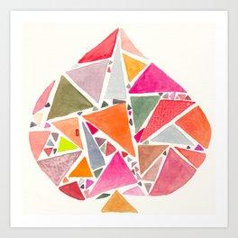 pink 6 de pique - SIX of spades Art Print