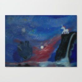 Unicorn In The Moonlite Canvas Print