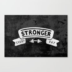 Stronger Every Day (dumbbell, black & white) Canvas Print