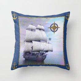 Vintage Sailing Ship Throw Pillow