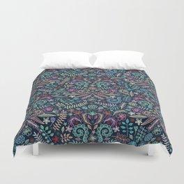 Colored Chalk Floral Doodle Pattern Duvet Cover