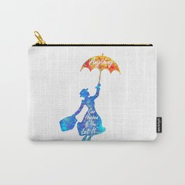 Anything Can Happen If You Let It - Mary Poppins Quote - colorful watercolor splatter Carry-All Pouch