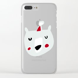Cute holiday bear white Clear iPhone Case