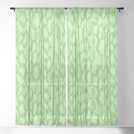 Overlapping Leaves - Light Green Sheer Curtain