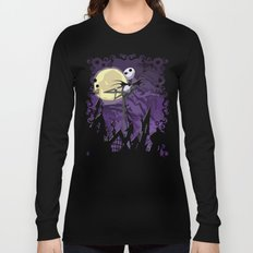Halloween Purple Sky with jack skellington iPhone 4 4s 5 5c, ipod, ipad, pillow case tshirt and mugs Long Sleeve T-shirt