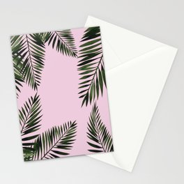 Watercolor tropical palm leaves pink Stationery Cards