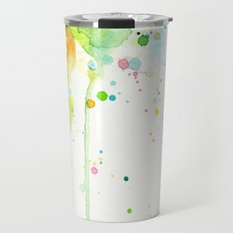 Watercolor Rainbow Splatters Abstract Texture Travel Mug