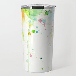Watercolor Rainbow Splatters Abstract Texture Travel Mug
