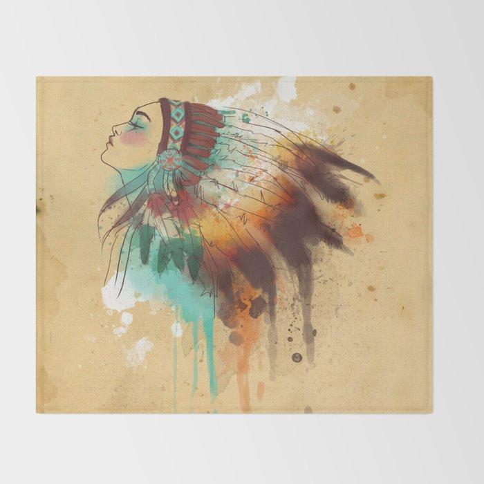 Native American Girl Throw Blanket