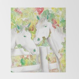 Watercolor Horse Illustration by McKenna Sendall Throw Blanket