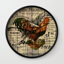 vintage typography barn wood shabby french country poulet chicken rooster Wall Clock
