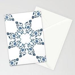 Blue Floral Heart Tile Stationery Cards