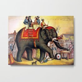 1874 Elephant Performing Circus Advertisement Poster Metal Print