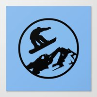 snowboarding Canvas Prints featuring snowboarding 3 by Paul Simms