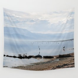 Salton Sea Lake Lanscape Coastal Beach with Sea Birds Colored Print Wall Tapestry