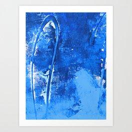 Aerial: a pretty, minimal abstract mixed-media piece in blues by Alyssa Hamilton Art Art Print