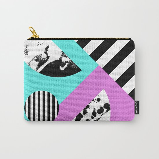 Stripes And Splats 2 - Random, Crazy, Abstract, Geometric, Black And White, Cyan, Pink Artwork Carry-All Pouch
