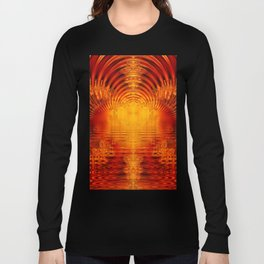 Abstract Fractal Golden Red Tunnel of Light Long Sleeve T-shirt