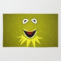 kermit Area & Throw Rugs featuring Kermit The Frog by DisPrints