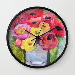 little farmhouse flower bird on chair Wall Clock
