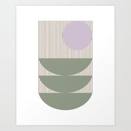 Lines and Shapes in Moss and Lilac Art Print