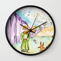 le petit prince Wall Clocks featuring Le petit prince by Colorful Simone