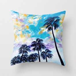 Oceanside Palm Trees Throw Pillow