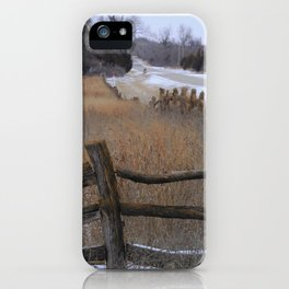 Kansas Wintery Wooden Fence iPhone Case